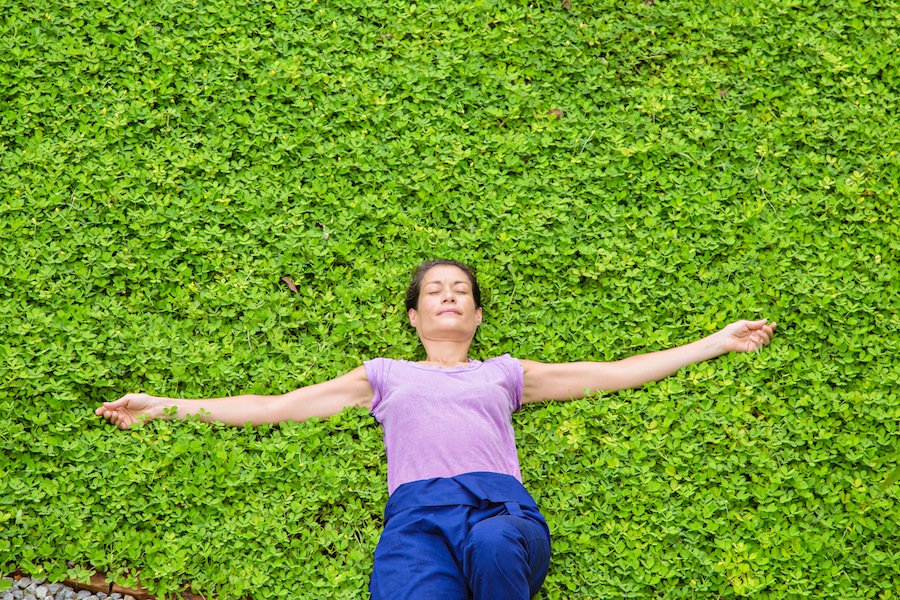 Museflower Retreat Spa Customize Your Own Retreat Program Girl Lying On Grass Relaxation